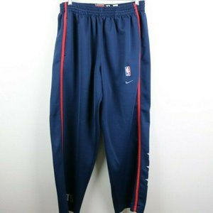 Nike Mens Pants NBA Nets Buttons Embroidered Blue